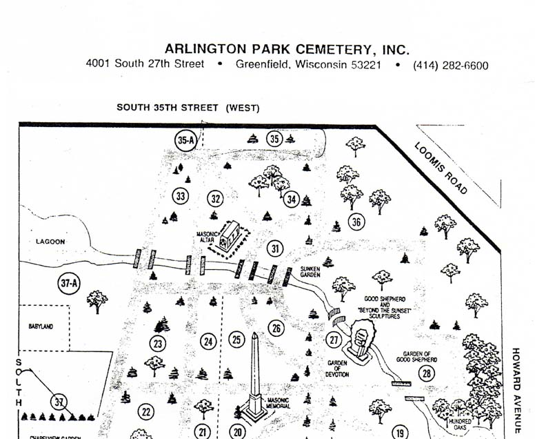 Arlington Cemetery Map, Burials, Interments Milwaukee County ...